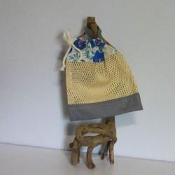 Filet de lavage gris et fleur en coton bio