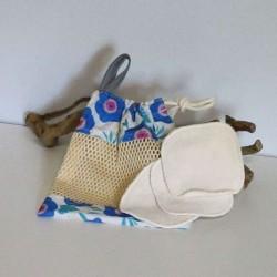 Filet de lavage fleur bleu en coton bio